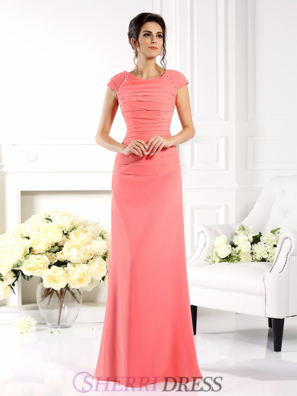 A-Line/Princess Bateau Chiffon Short Sleeves Floor-Length Mother of the Bride Dresses