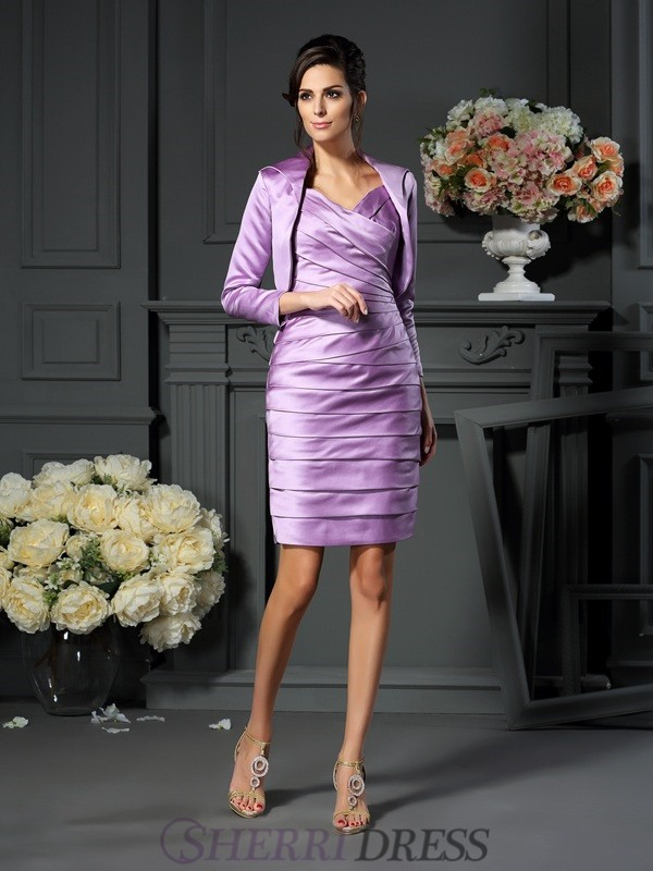 Sheath/Column Straps Satin Sleeveless Knee-Length Mother of the Bride Dresses