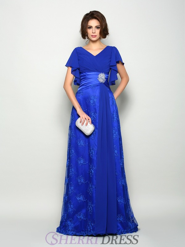 A-Line/Princess V-neck Chiffon Short Sleeves Sweep/Brush Train Mother of the Bride Dresses
