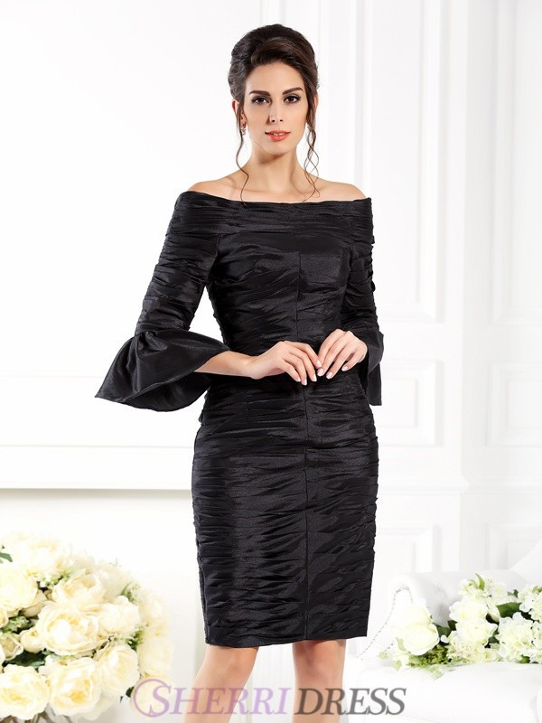 Sheath/Column Off-the-Shoulder Taffeta 1/2 Sleeves Short/Mini Mother of the Bride Dresses