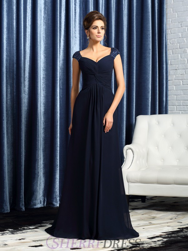 A-Line/Princess Straps Chiffon Sleeveless Sweep/Brush Train Mother of the Bride Dresses