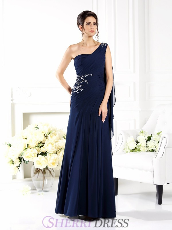 Sheath/Column One-Shoulder Chiffon Sleeveless Floor-Length Mother of the Bride Dresses