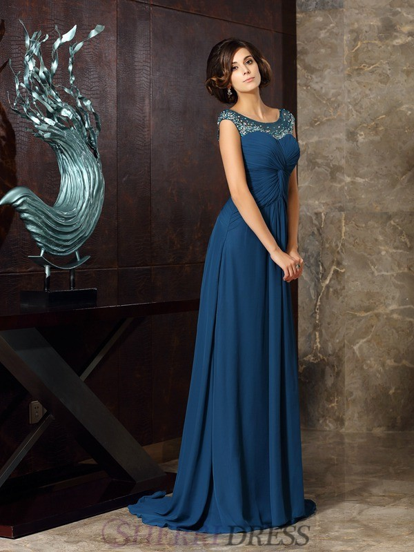 A-Line/Princess Scoop Chiffon Sleeveless Sweep/Brush Train Mother of the Bride Dresses