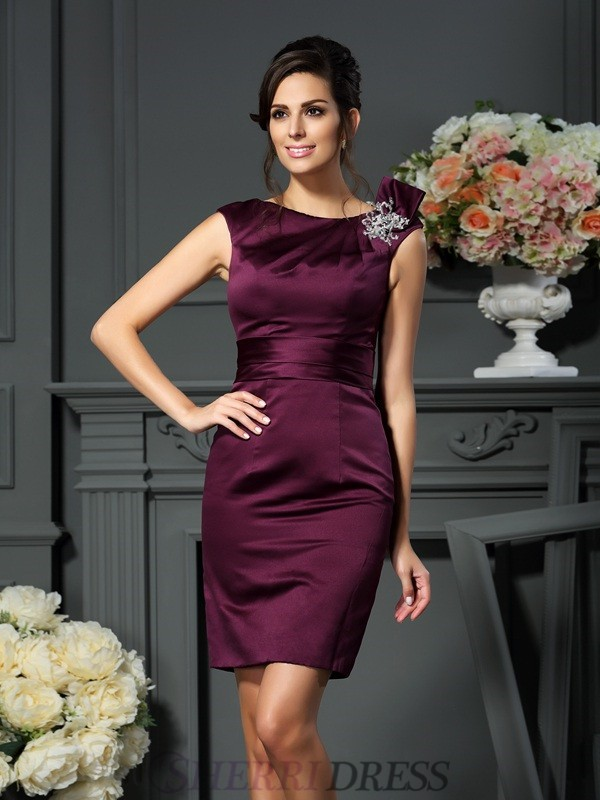 Sheath/Column Scoop Satin Sleeveless Knee-Length Mother of the Bride Dresses