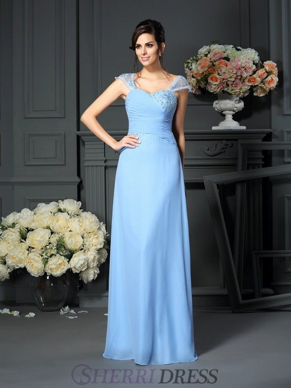 Sheath/Column Straps Chiffon Sleeveless Floor-Length Mother of the Bride Dresses