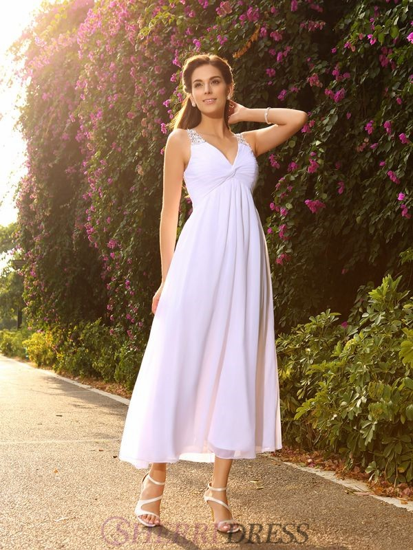 A-Line/Princess V-neck Chiffon Sleeveless Ankle-Length Wedding Dresses