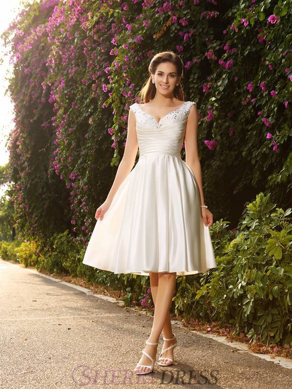 A-Line/Princess V-neck Satin Sleeveless Knee-Length Wedding Dresses