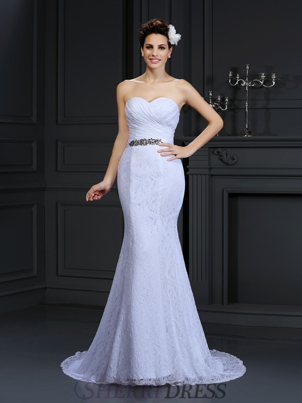 Trumpet/Mermaid Sweetheart Lace Sleeveless Chapel Train Wedding Dresses