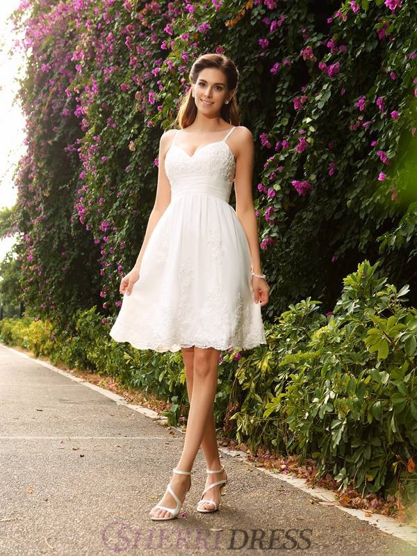 A-Line/Princess Spaghetti Straps Lace Sleeveless Knee-Length Wedding Dresses