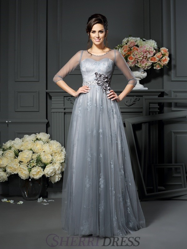A-Line/Princess Scoop Satin 1/2 Sleeves Floor-Length Mother of the Bride Dresses