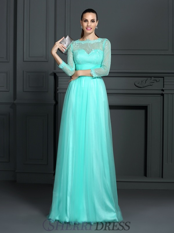 A-Line/Princess Bateau Elastic Woven Satin 3/4 Sleeves Sweep/Brush Train Dresses