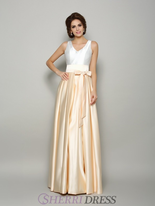 A-Line/Princess V-neck Satin Sleeveless Floor-Length Mother of the Bride Dresses