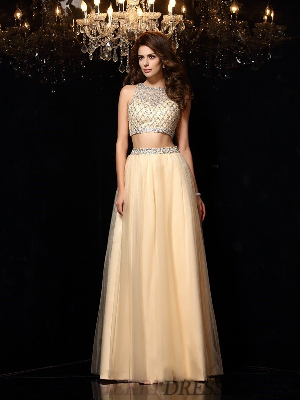 A-Line/Princess High Neck Net Sleeveless Floor-Length Two Piece Dresses
