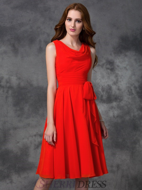A-line/Princess Scoop Chiffon Sleeveless Knee-length Bridesmaid Dresses