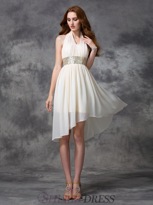 A-line/Princess Halter Chiffon Sleeveless Asymmetrical Cocktail Dresses