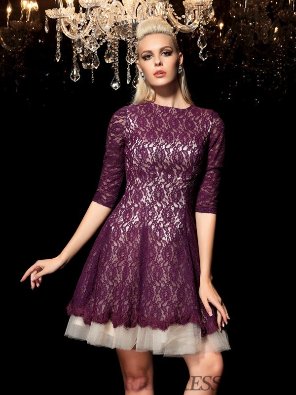 A-Line/Princess Sheer Neck Lace 1/2 Sleeves Short/Mini Cocktail Dresses