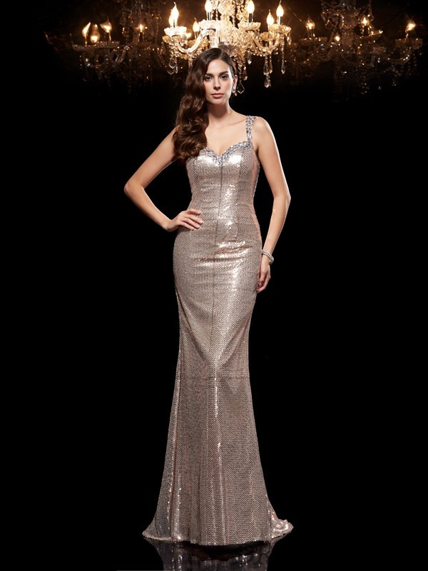 Sheath/Column Straps Sequins Sleeveless Sweep/Brush Train Evening Dresses
