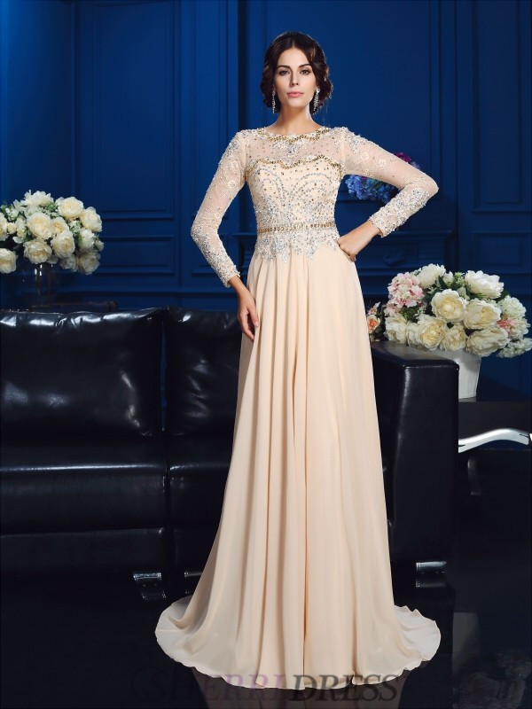A-Line/Princess Scoop Chiffon Long Sleeves Sweep/Brush Train Mother of the Bride Dresses