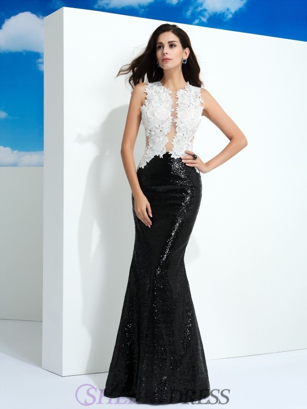 Sheath/Column Scoop Lace Sleeveless Floor-Length Evening Dresses