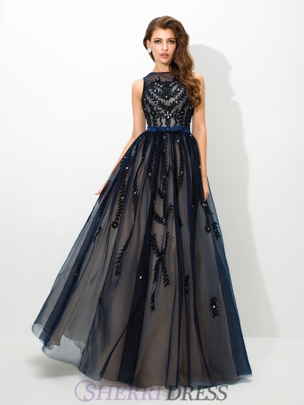 A-Line/Princess Sheer Neck Tulle Sleeveless Floor-Length Evening Dresses
