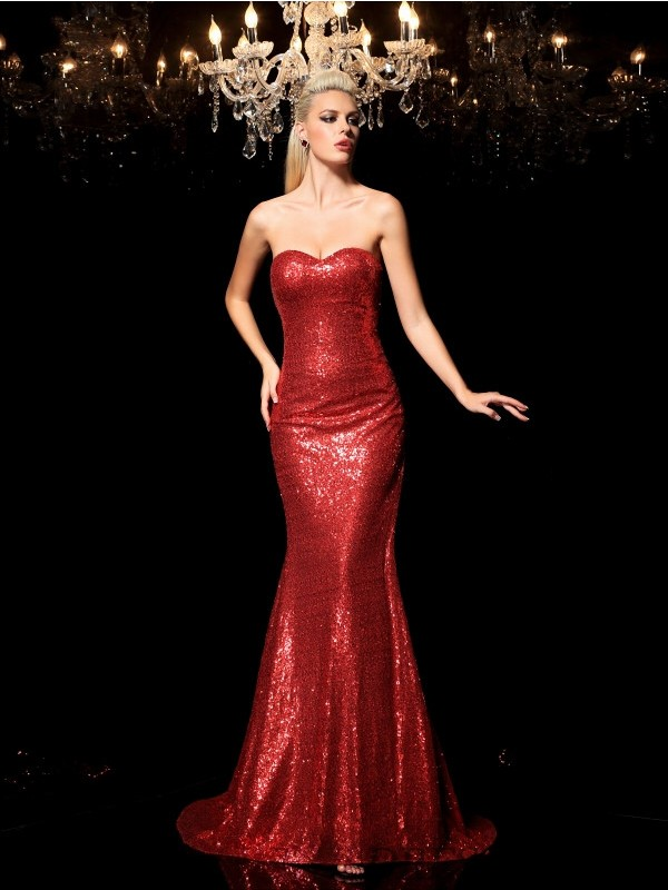Sheath/Column Sweetheart Sequins Sleeveless Sweep/Brush Train Evening Dresses