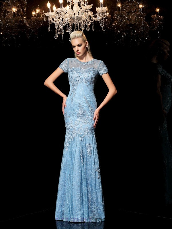 Sheath/Column Sheer Neck Lace Short Sleeves Floor-Length Evening Dresses