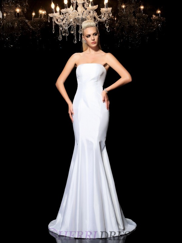 Sheath/Column Strapless Satin Sleeveless Sweep/Brush Train Evening Dresses