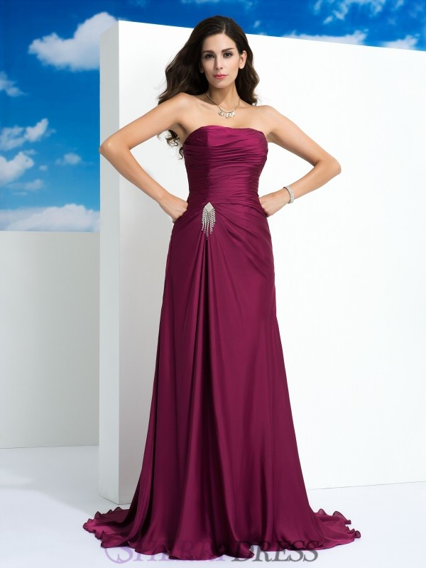 A-Line/Princess Strapless Satin Chiffon Sleeveless Sweep/Brush Train Evening Dresses