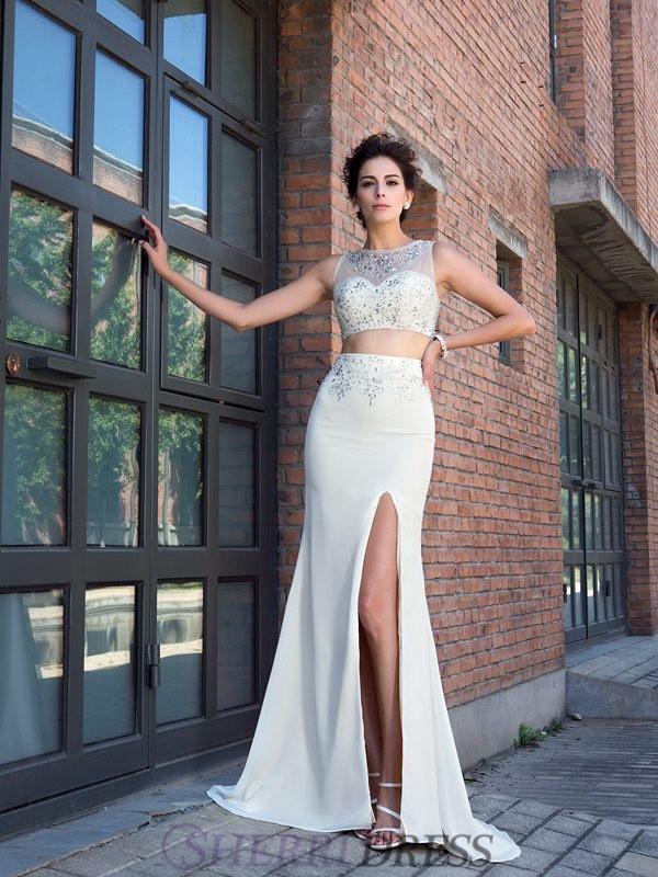 Sheath/Column High Neck Chiffon Sleeveless Sweep/Brush Train Two Piece Prom Dresses