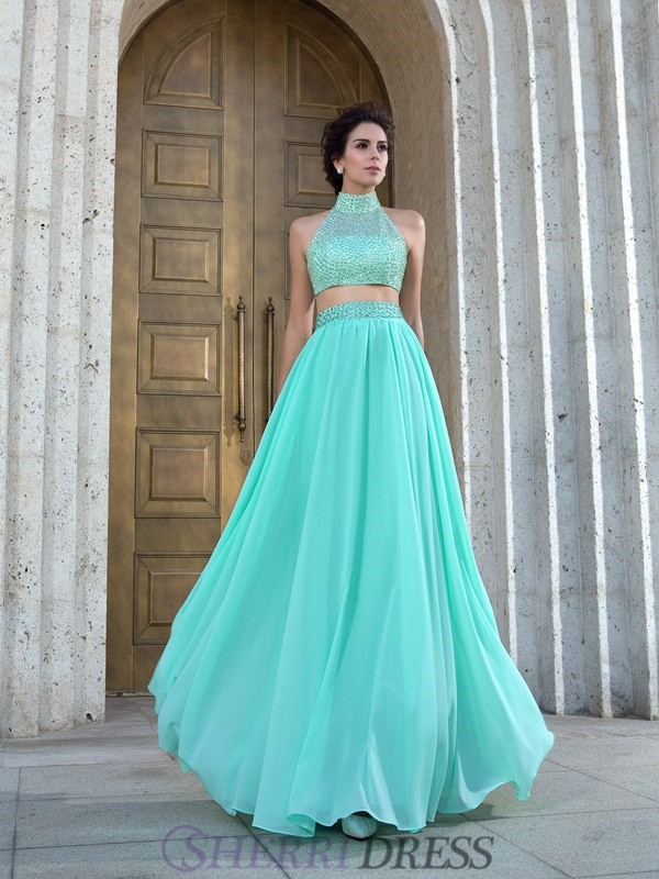 A-Line/Princess High Neck Chiffon Sleeveless Floor-Length Two Piece Prom Dresses