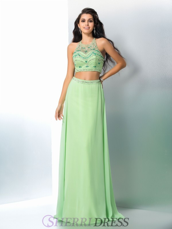 A-Line/Princess Halter Chiffon Sleeveless Floor-Length Two Piece Prom Dresses