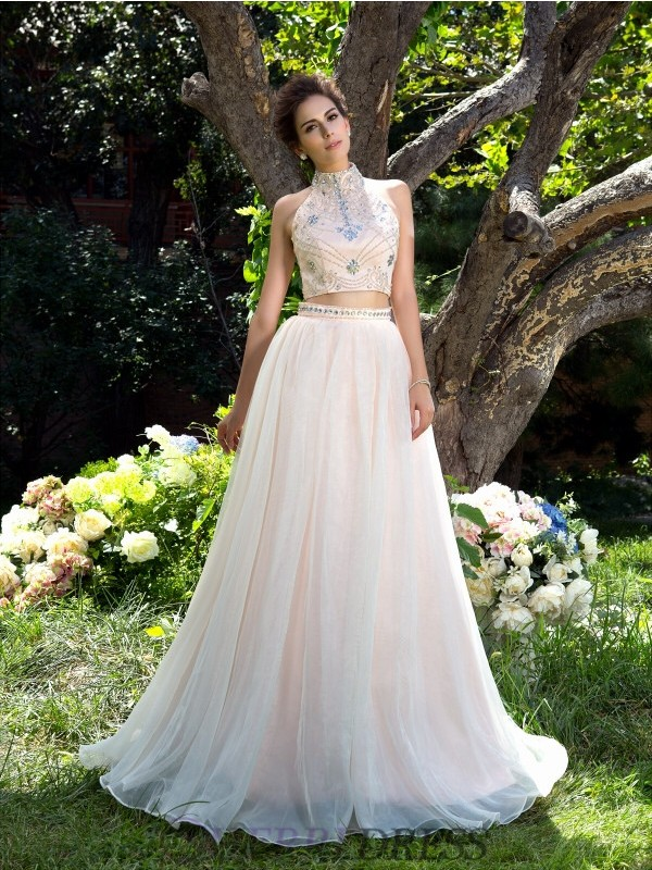 A-Line/Princess High Neck Net Sleeveless Sweep/Brush Train Two Piece Prom Dresses