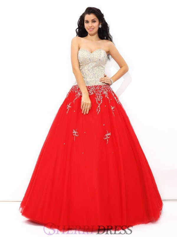 Ball Gown Sweetheart Satin Sleeveless Floor-Length Quinceanera Dresses