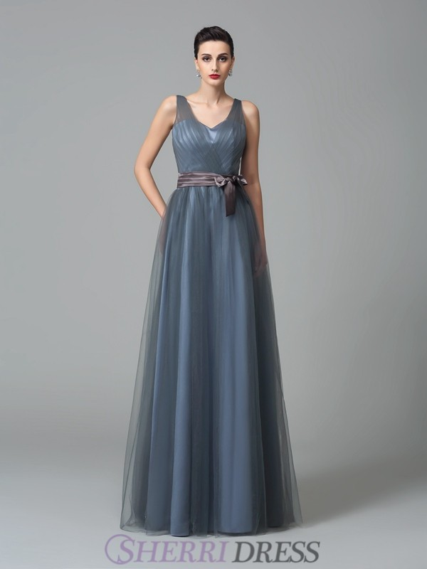 A-Line/Princess Straps Net Sleeveless Floor-Length Bridesmaid Dresses
