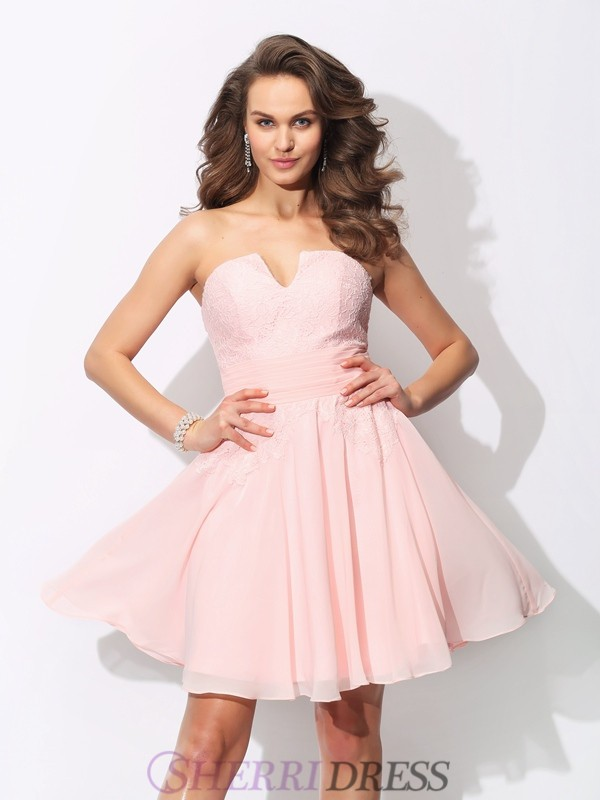 A-Line/Princess Sweetheart Chiffon Sleeveless Short/Mini Bridesmaid Dresses