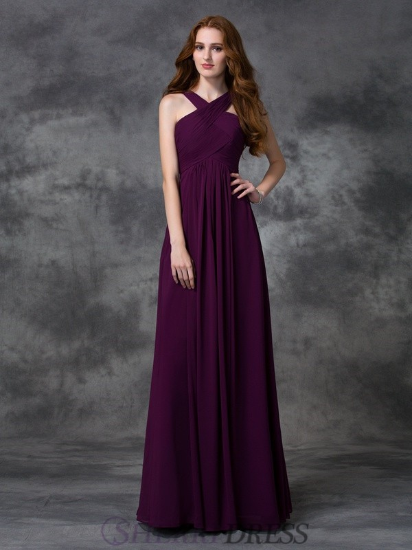 A-line/Princess Straps Chiffon Sleeveless Floor-length Bridesmaid Dresses