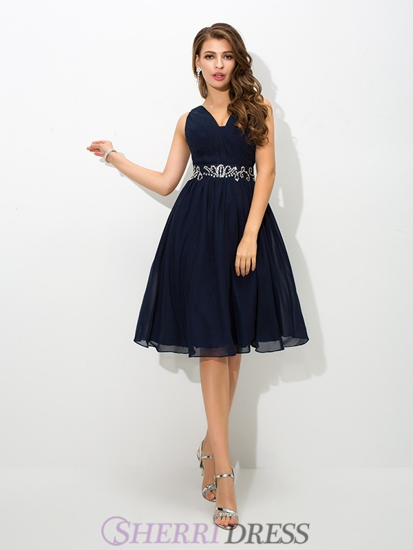 A-Line/Princess Straps Chiffon Sleeveless Knee-Length Cocktail Dresses