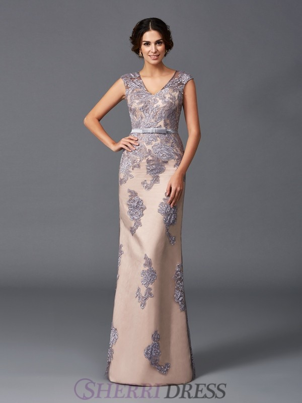 Sheath/Column Straps Satin Sleeveless Floor-Length Evening Dresses