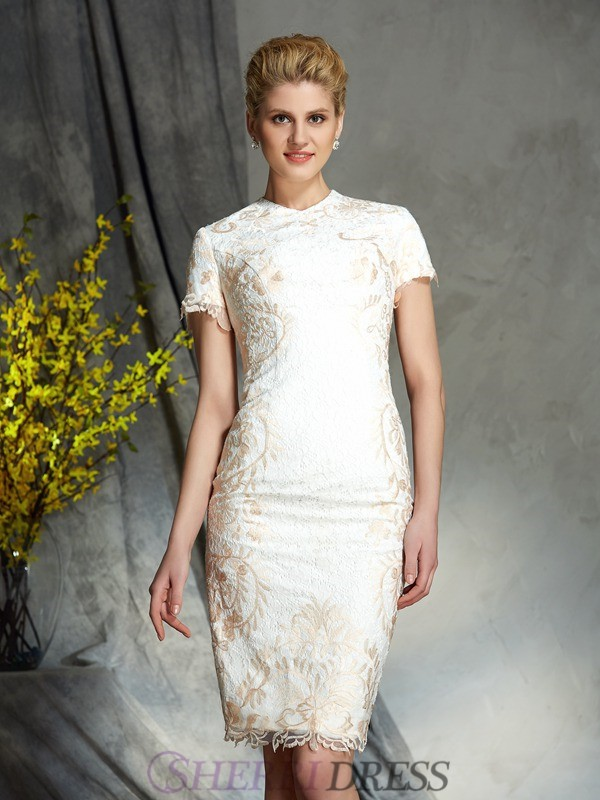Sheath/Column Jewel Lace Short Sleeves Short/Mini Mother of the Bride Dresses