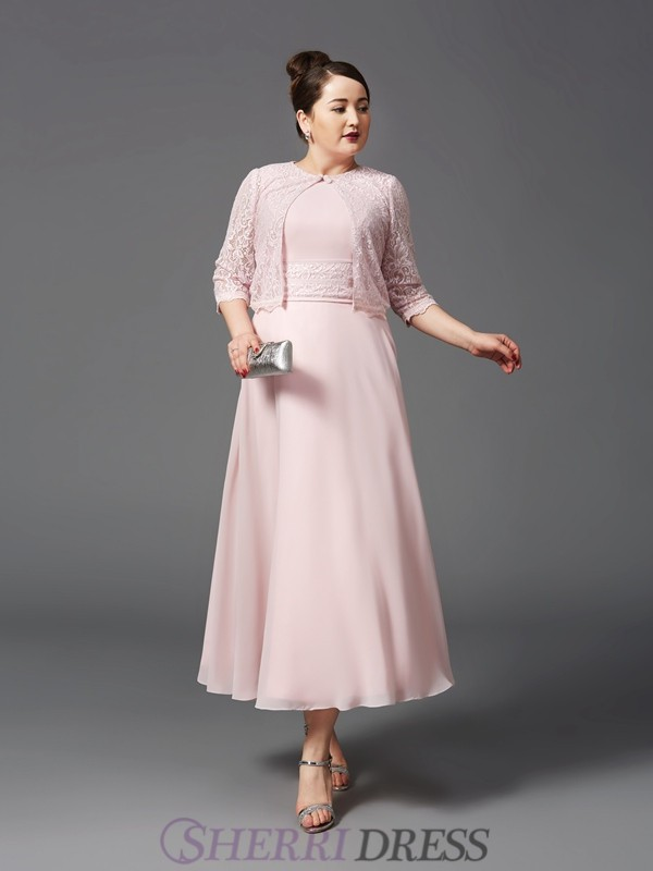A-Line/Princess Jewel Chiffon Sleeveless Ankle-Length Plus Size Mother of the Bride Dresses