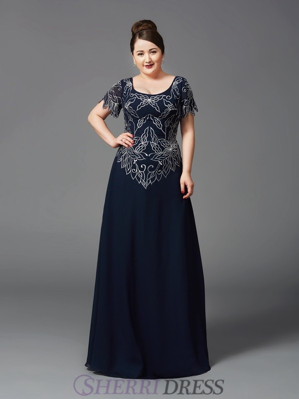 A-Line/Princess Square Chiffon Short Sleeves Floor-Length Plus Size Mother of the Bride Dresses