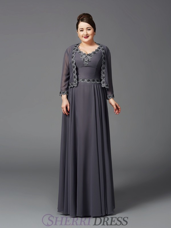 A-Line/Princess Straps Chiffon Sleeveless Floor-Length Plus Size Mother of the Bride Dresses