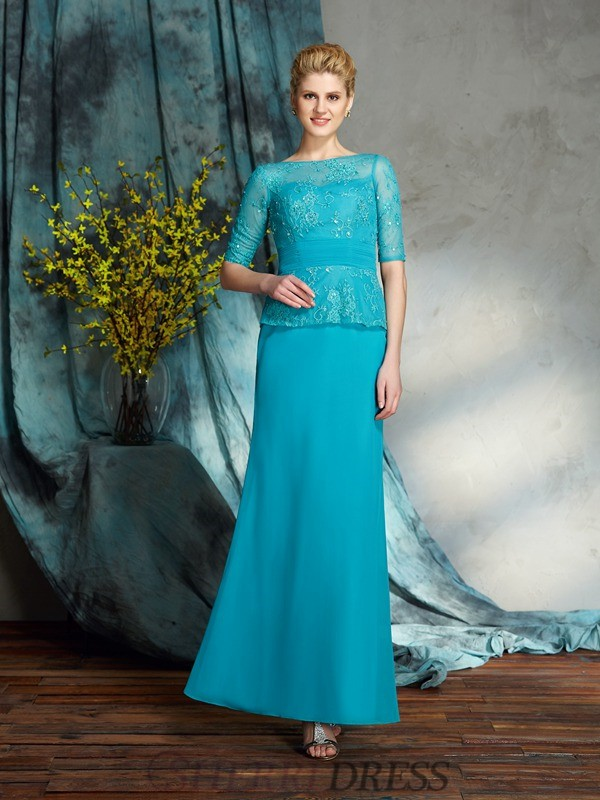 Sheath/Column Bateau Chiffon 1/2 Sleeves Floor-Length Mother of the Bride Dresses