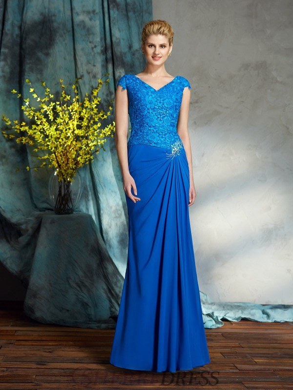 Sheath/Column V-neck Chiffon Short Sleeves Floor-Length Mother of the Bride Dresses