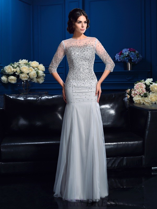 Sheath/Column Scoop Net 3/4 Sleeves Floor-Length Mother of the Bride Dresses