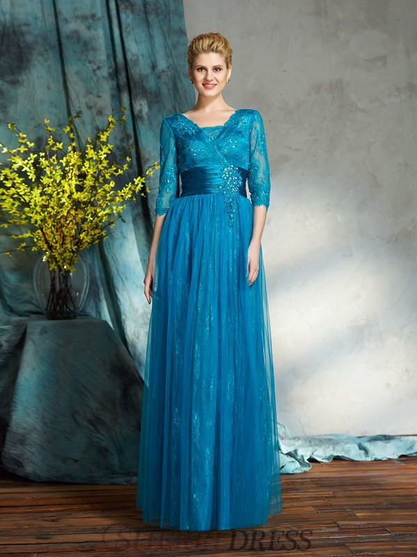 A-Line/Princess V-neck Net 3/4 Sleeves Floor-Length Mother of the Bride Dresses
