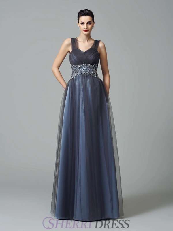 A-Line/Princess Straps Net Sleeveless Floor-Length Mother of the Bride Dresses