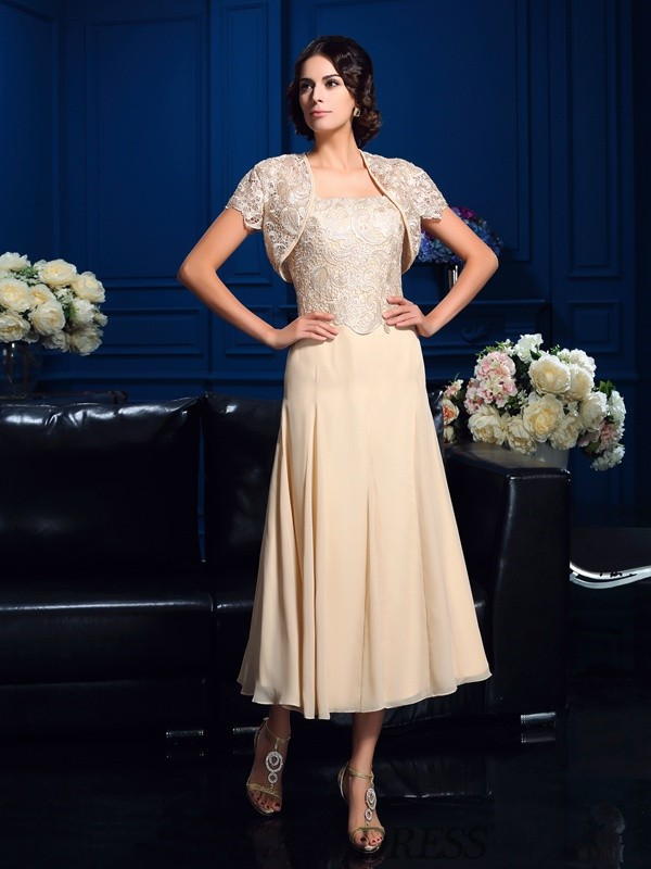 A-Line/Princess Square Chiffon Sleeveless Knee-Length Mother of the Bride Dresses