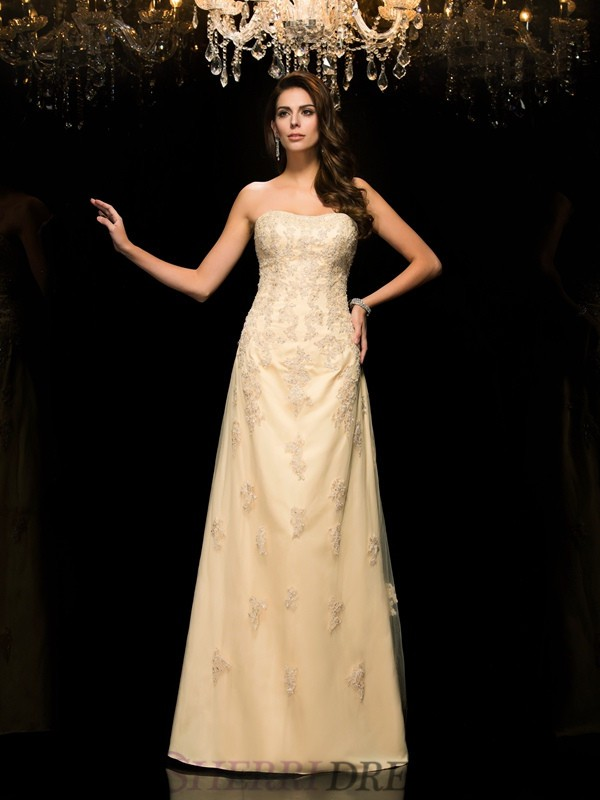 A-Line/Princess Sweetheart Net Sleeveless Floor-Length Mother of the Bride Dresses