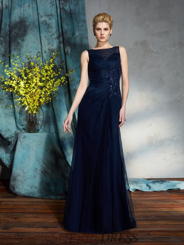 Sheath/Column Bateau Net Sleeveless Floor-Length Mother of the Bride Dresses